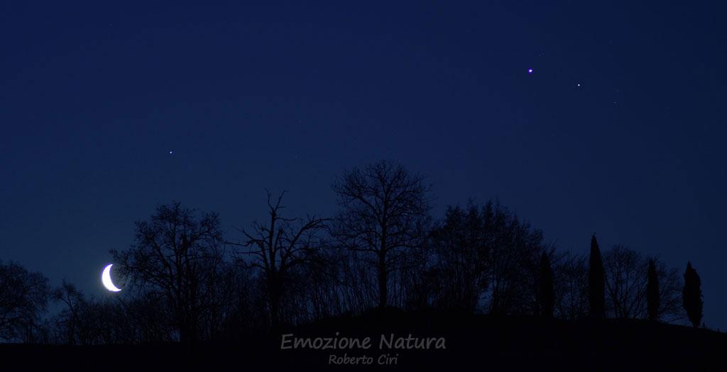 Congiunzione Luna. Saturno. Giove e Marte