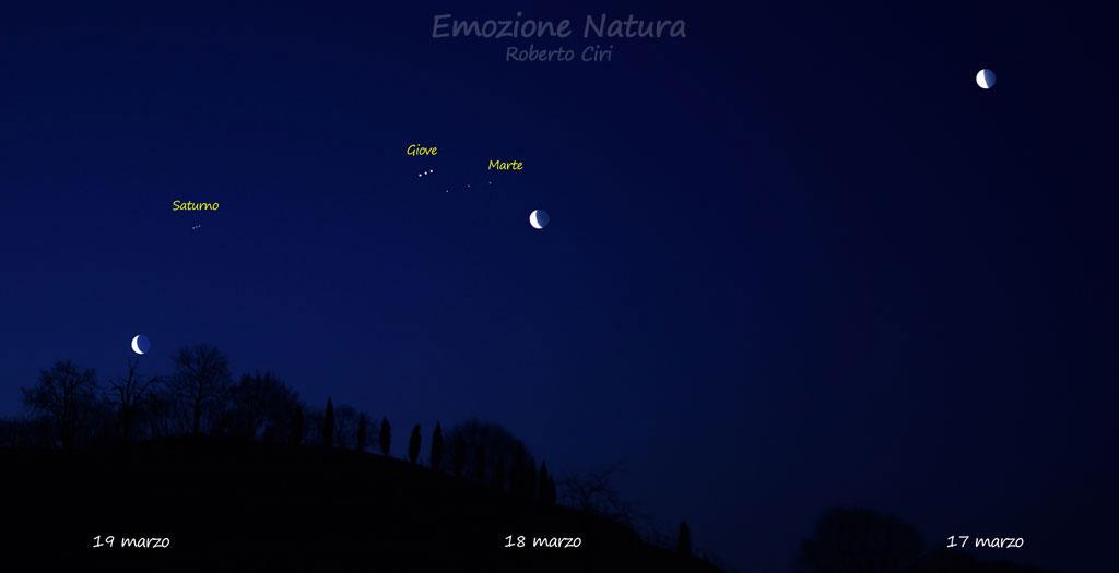Congiunzione Luna. Saturno. Giove e Marte in tre giorni successivi