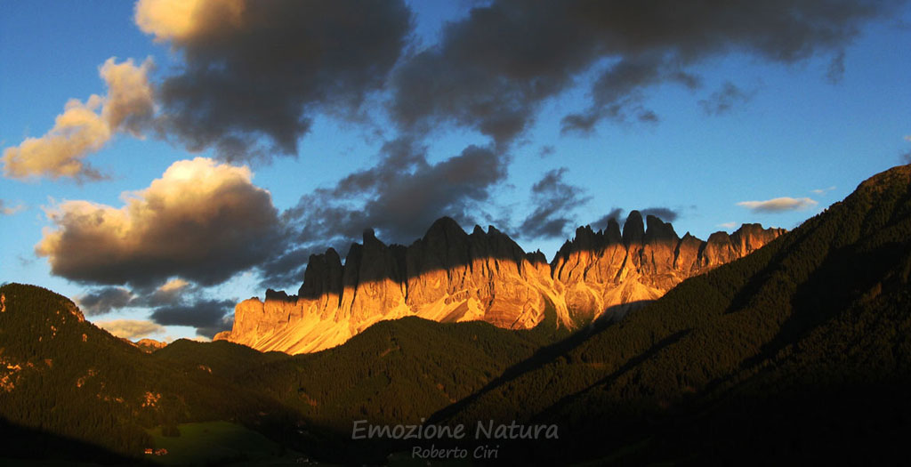 Tramonto sulle Odle in Val di Funes