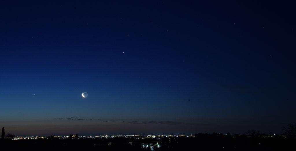 Paesaggio con la Luna che sorge accompagnata da Giove e Marte
