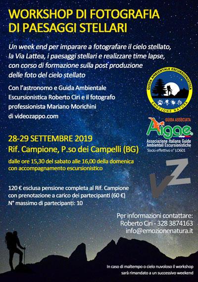 Locandina workshop fotografia di paesaggi stellari