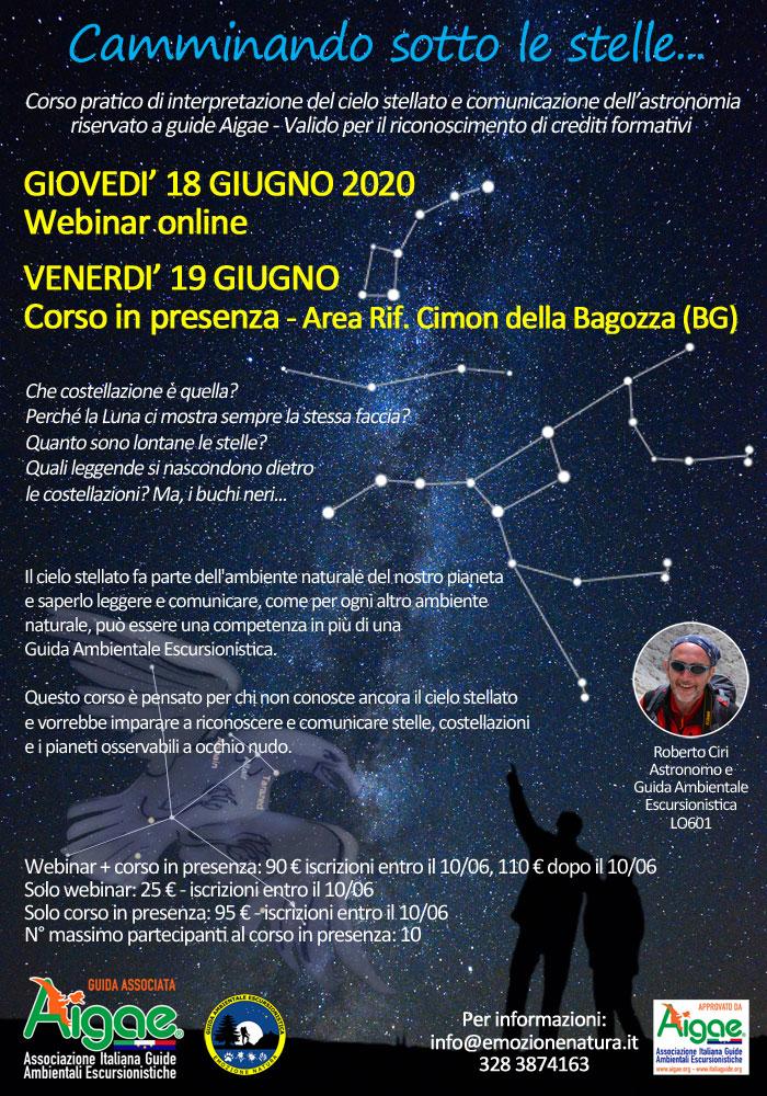 Locandina corso astronomia 18-19/06/2020