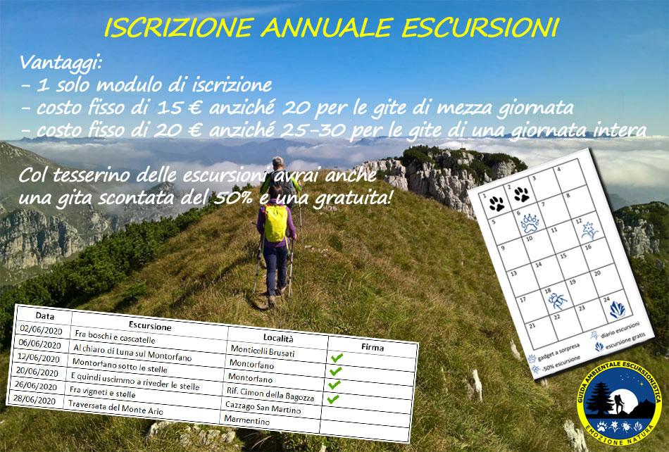 Iscrizione annuale escursioni