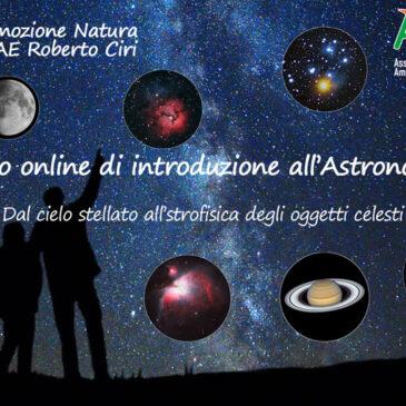 Dal 5 gennaio 2021 – CORSO ONLINE DI INTRODUZIONE ALL'ASTRONOMIA