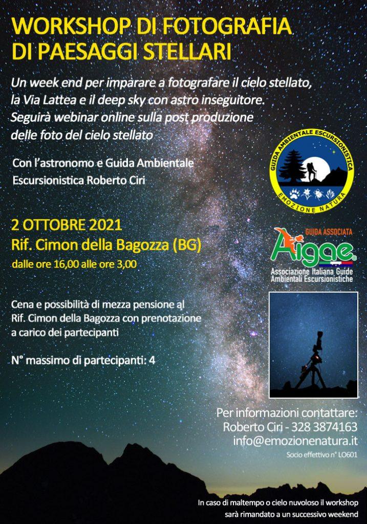 Workshop astro fotografia paesaggi stellari e deep sky