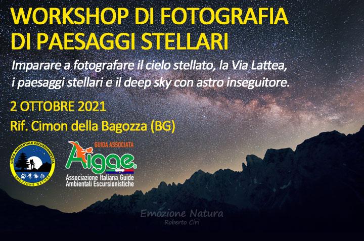 Workshop astro fotografia con astro inseguitore